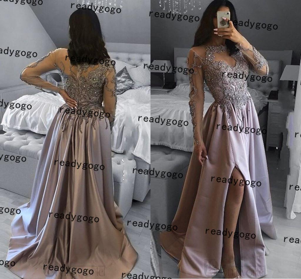 실버 그린 긴 소매 댄스 파티 공식 드레스 2021 레이스 얼룩이 섹시한 슬릿 vestido de noche 전체 길이 저녁 가운 착용