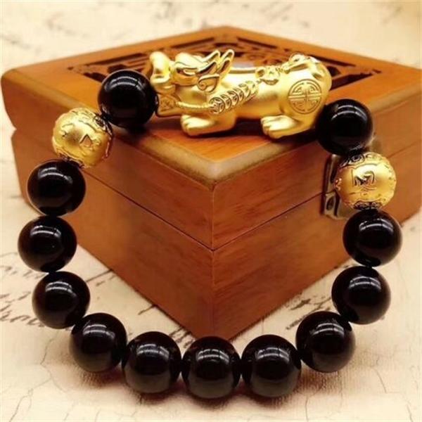 Real 24k pulseira de ouro amarelo / homem mulher 3d afortunado pixiu link 10mm maxim cadeia Q1210