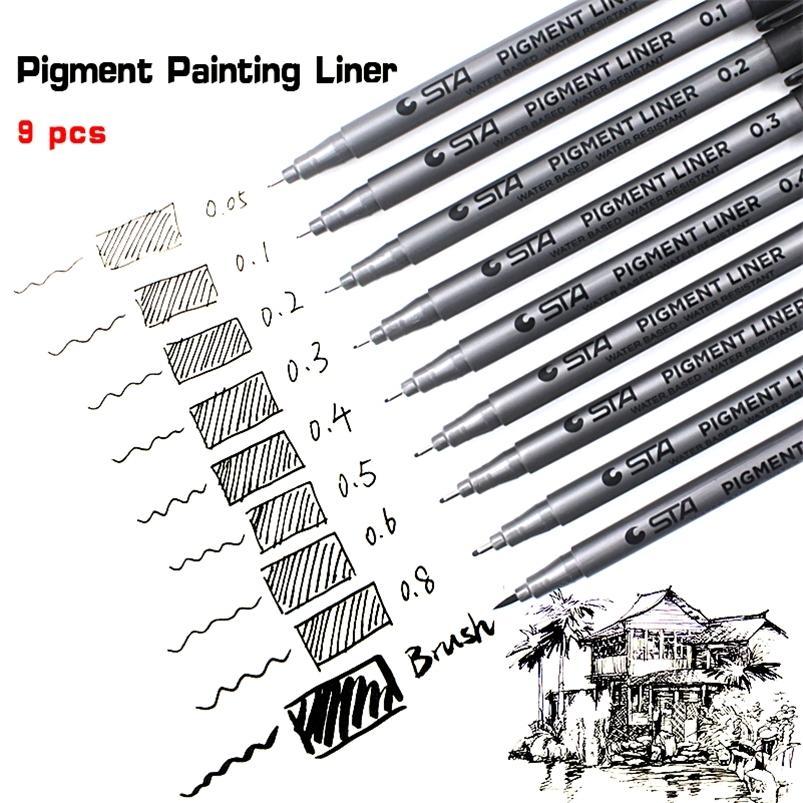 9PCS / LOT COPIC STA BASK ARICANDO LAS ARBIDADES DE AGUA 9 Tamaños para el forro de Pigment Fineliner Pens Art Supplies de escuela 201222