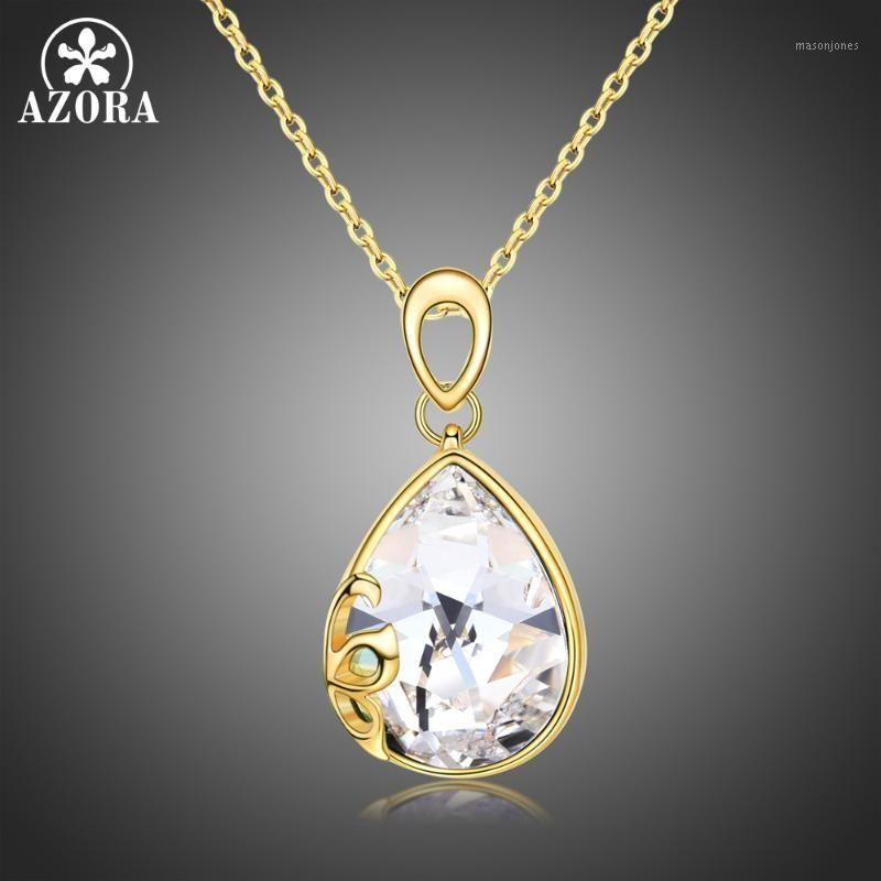 Anhänger Halsketten Azora Frauen Mode Lange Kette Birnenschnitt Clear österreichische Kristalle Stein Hochzeit Schmuck für weibliche Mädchen TN02411