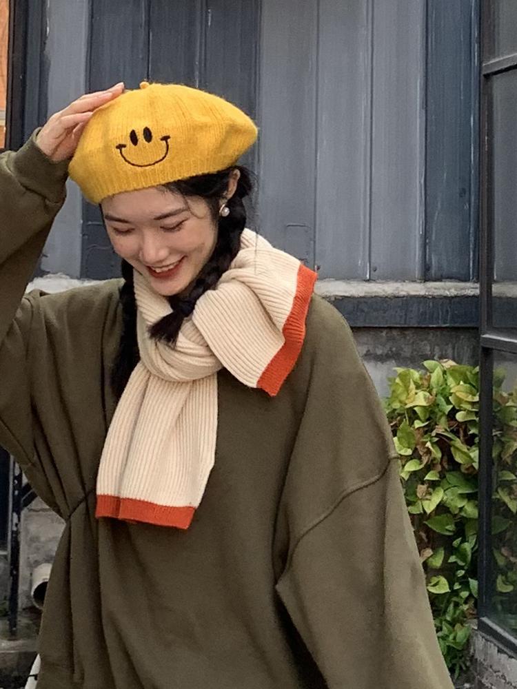 Couleur coréenne de couleur pure coréennes foulards de laine de laine filles féminines chaude chaude d'automne et d'hiver des étudiants de femme doux pour femmes