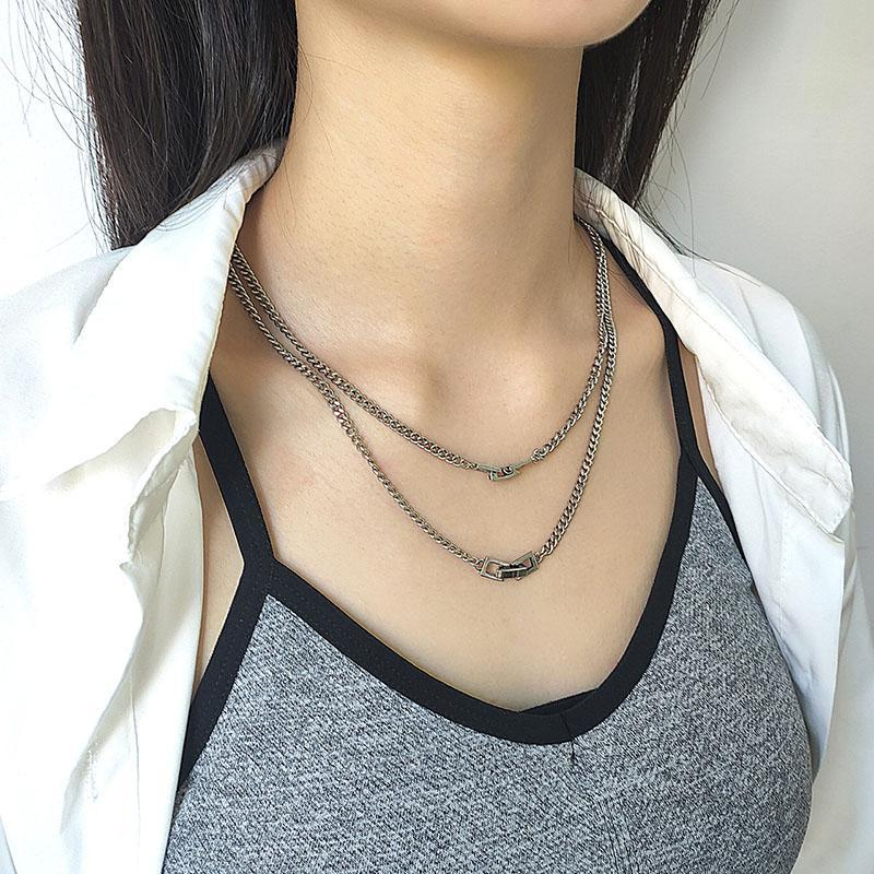 Nueva moda coreana Retro Tailandés Cadena de plata Collar Neutral Pareja Regalo Inst Tendencia Hot Mademade