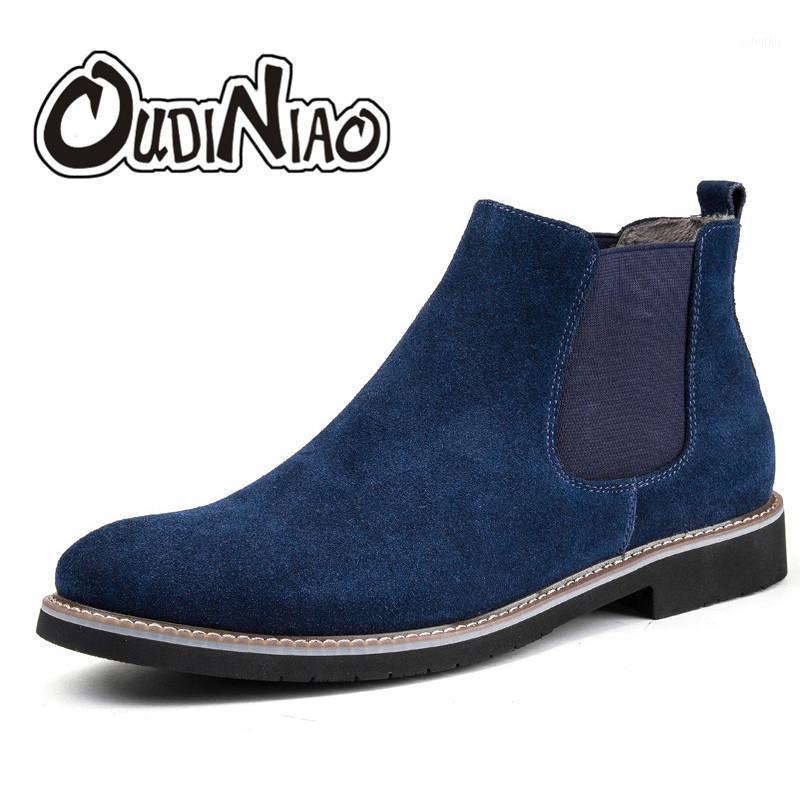 Oudiniao Spring 2020 stivali da uomo in peluche Slip on stivali da cowboy in pelle scamosciata in pelle da uomo in pelle divisa in pelle da uomo inverno1