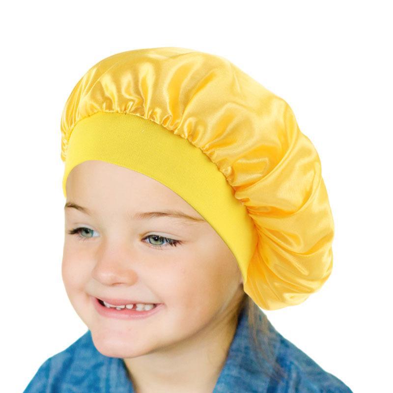 Güzel Saç Uyandırma Mükemmel Günlük için RTS Çocuk İpek Gece Uyku Cap Şapka Çocuk Kafa Kapak Uyku Cap Saten Bonnet
