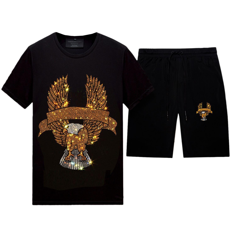 Yaz Rahat Rhinestone Eşofman Erkekler 2 Parça Tasarımları ile - Crewneck Kısa Kollu T-Shirt ve Şort Pantolon Set, Siyah