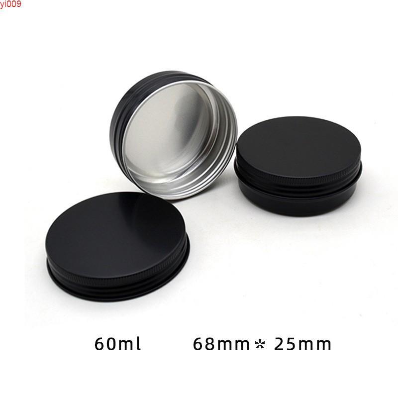 50 stücke 60ml 2oz leer Aluminiumgläser, 60g matte schwarze kosmetische creme lotion flaschen make-up metall doors Kostenloser VersandBehaltung