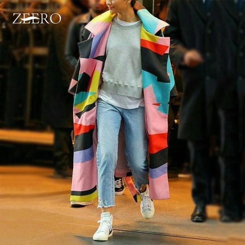 2020 Women Long Wool Blend Winter Trench Coat Autumn Geometric Polyester long Coats Plus Size Ladies Coats Plus Size 3XL