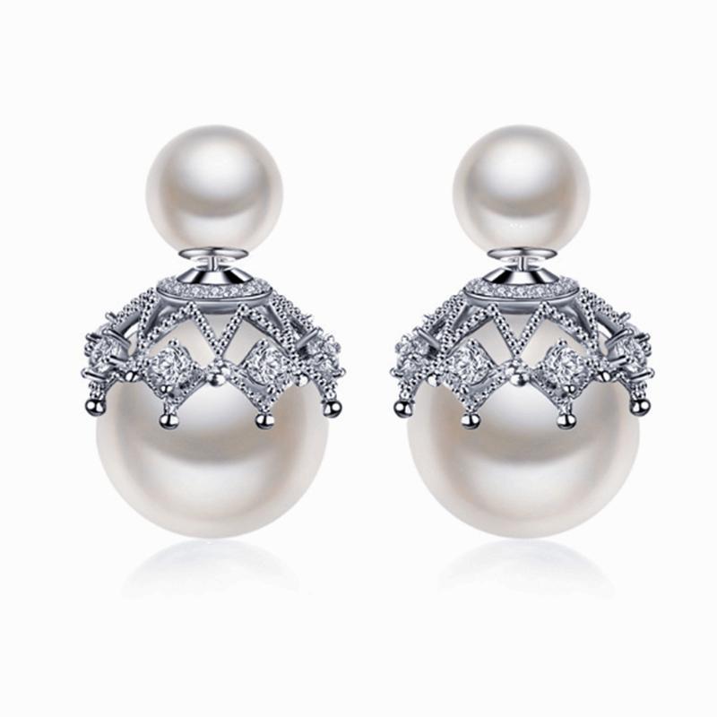 Orecchini in argento sterling 925 orecchini all'ingrosso orecchini femminili coreano pizzo orecchini perla donna ragazza spedizione gratuita 4 colori