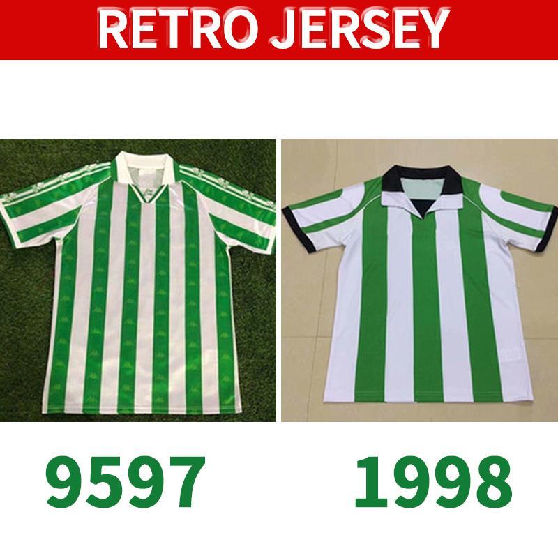 Real Betis 95 97 98 Jerseys de football rétro 1995 Match de Bettis Real Worn Menendeez Finidi 25 Rios 21 Finidi 11 Football Jerseys Maillot de pied