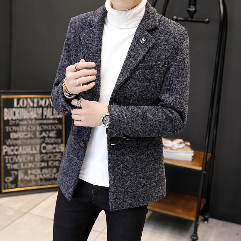 Приятный стиль прилива мужская шерстяная шерстяная шерстяная мода, воротник из шерстяной шерстяной траншеи мужская стройная верхняя одежда