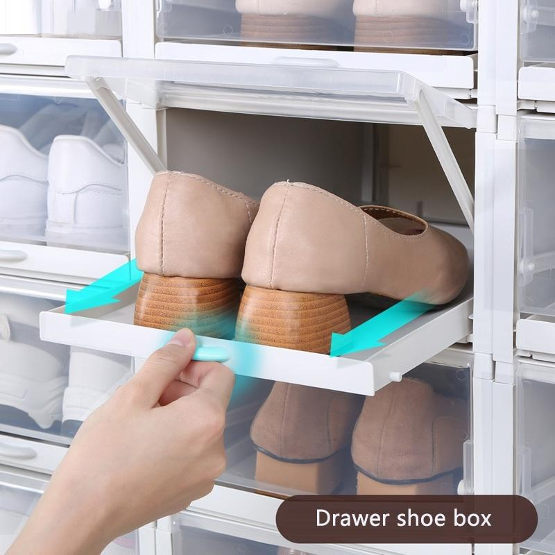 3pcs/Set Push-pull Shoes Box for Storage Useful Plastic Stackable Shoe Rack Organizer Shoebox for High Heels Sandals Sneakers 201110
