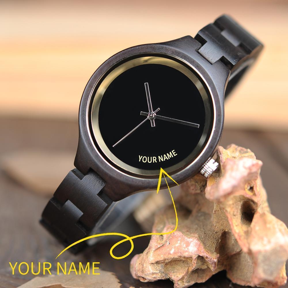 Bobo Bird Femme Regardez le nom personnalisé sur cadran en bois Simple Design Personnalisé Bracelet Personnalisé Dropshipping dans Cade-cadeau Reloj Mujer Lj201123