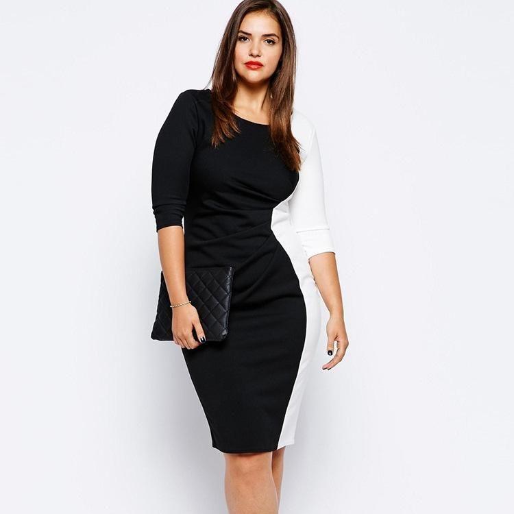 Plus Size Dress3 XL-6XL femmes sexy Trois patchwork Quarter Sleeves Paquet Hip Robes cherrykeke Robes De Festa Ropa Mujer
