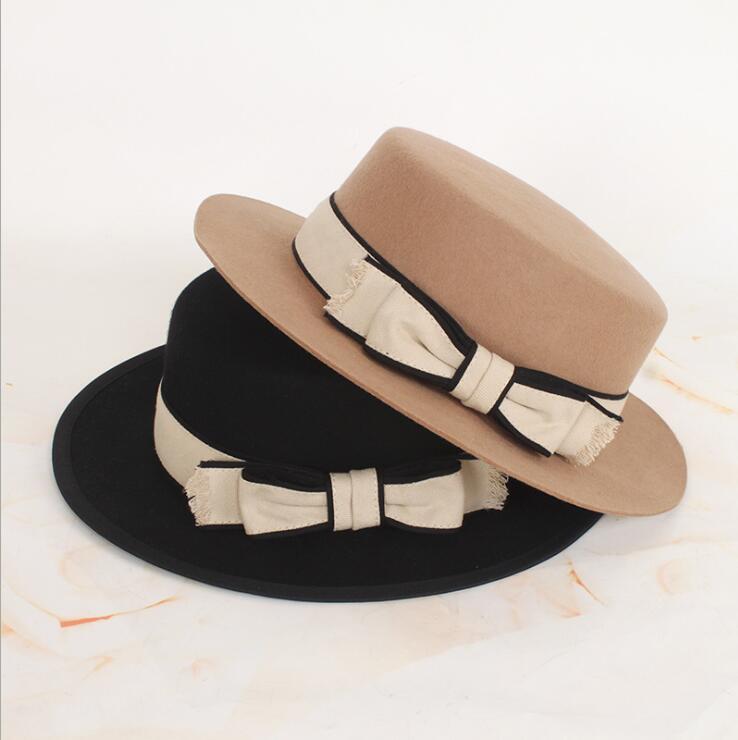 Geniş Ağız Şapkalar 100% Yün Yüksek Kalite Fedora Kadınlar için Papyon Şerit Kış Şapka Rahat Serin Güzel Çeşitli Renkler