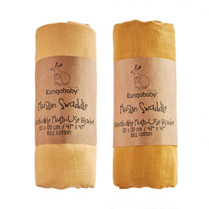 KANGOBABY 2PC Pack # Vold Time # Muslin Organic Bamboo Bebê Swaddle Recebendo Cobertores Y201001