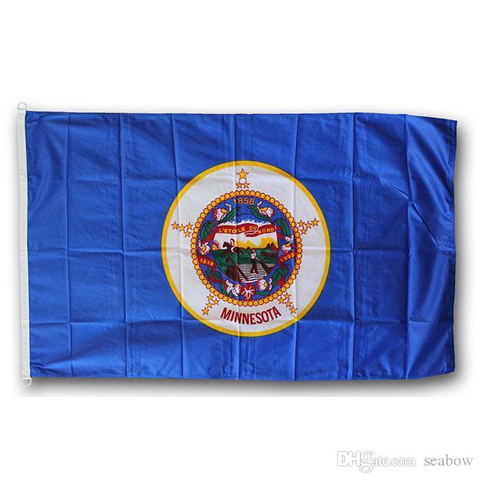 ABD Banner Minnesota Bayrağı Devlet 3x5 FT 90x150cm Devlet Bayrağı Festivali Parti Hediye 100D Polyester Kapalı Açık Baskılı Sıcak satış