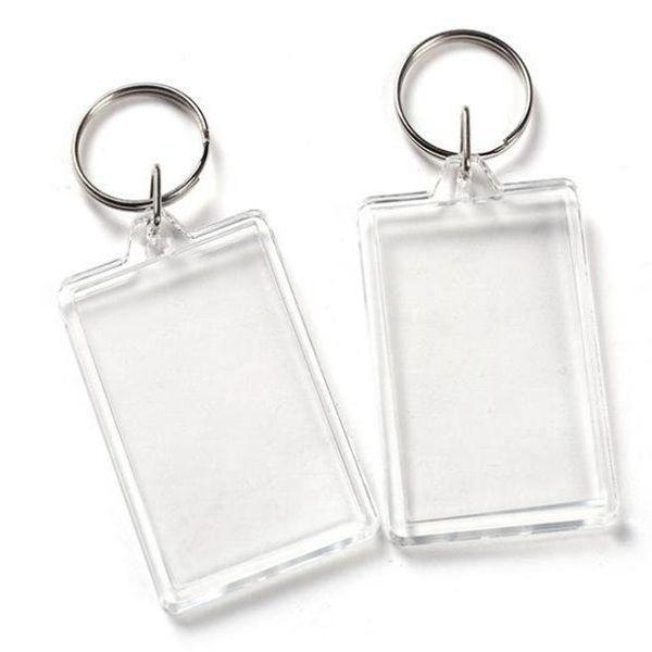 Blank acrylique transparent en plastique Keyrings Insérer passeport cadre photo Cadre photo Porte-clefs Parti cadeau