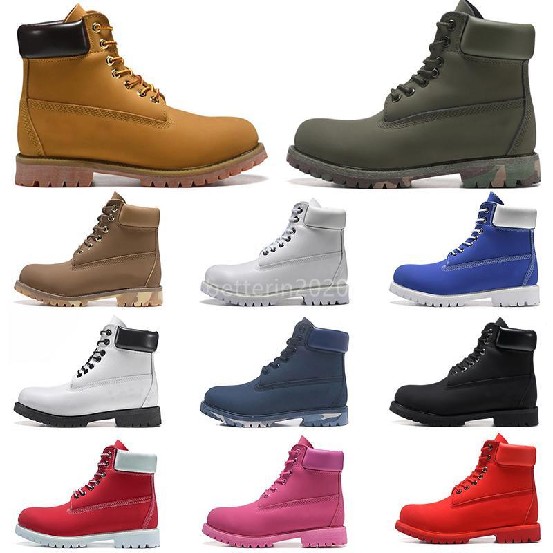 Fashion Hommes Bottes Designer TBL Mens Chaussures En Cuir Pour femmes Botte d'hiver pour Cowboy Jaune Militaire Triple Black Black Camo Randonnée Travaux de randonnée