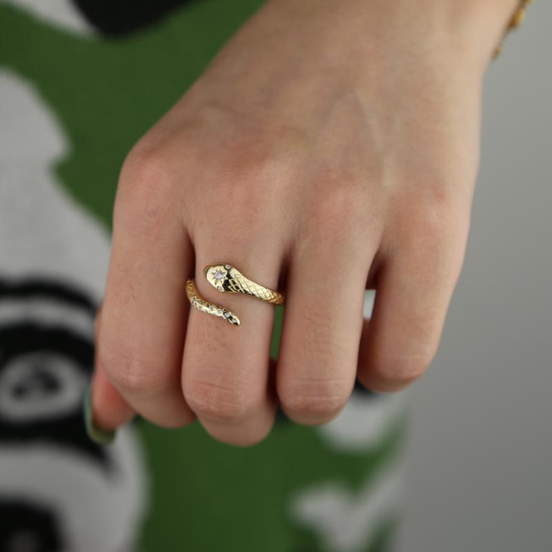 Aprire forma di serpente involucro micro cz pavimenta scatenando bling stabrust stelle fascino inciso regolare anelli cz moda di tendenza della band