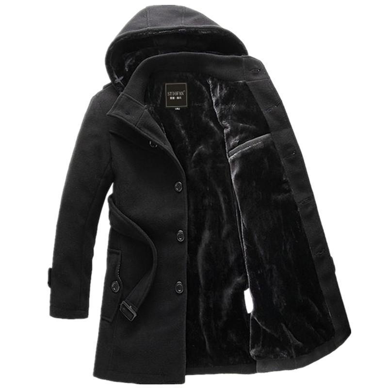 Männer Wollmischungen 2021 Winter männliche beiläufige Kapuzenparkas Männer Slim Mode Mode einfarbig lange Verdicken Oberbekleidung Mäntel mit Gürtel
