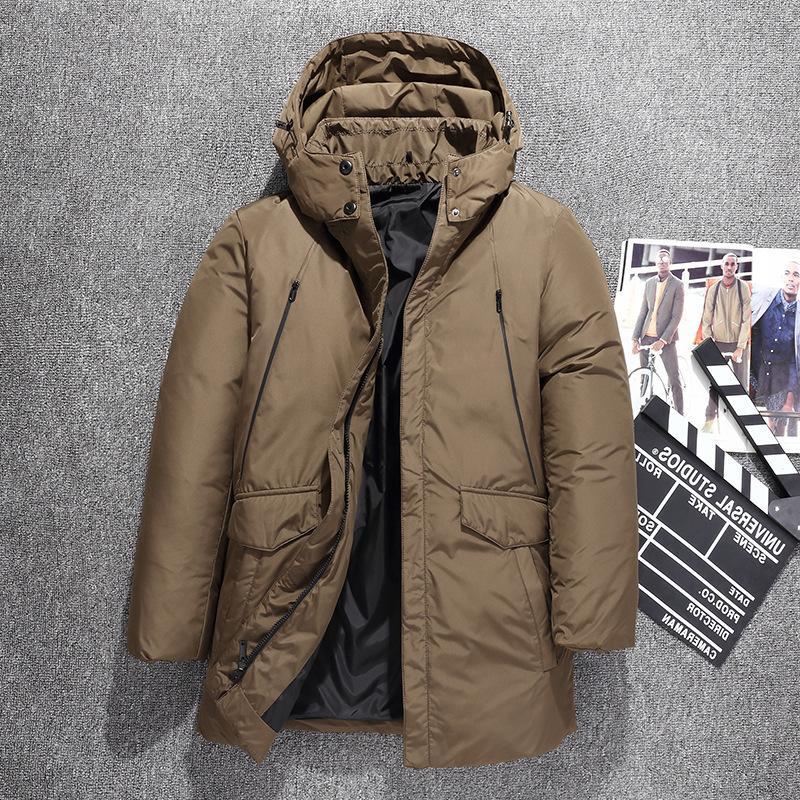 Россия зимняя утолщение мужчин с капюшоном белая утка куртка толстые теплые повседневные ветровка грузовые пальто грузовые пальто варенье -31 градусов
