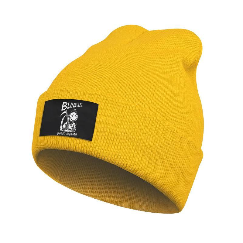 Unisex Fashion Beanie Skull Hats Blink 182 bored to death Punk rock Cuff Toboggan Wool Knitted Cap