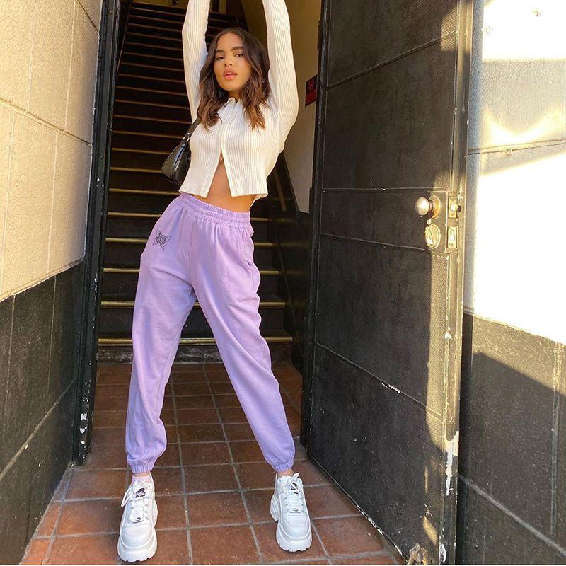 Pantalon de jogging pour femmes Pantalon à taille haute Solide Casual Sports Loose Sports Bas Couleur Couleur Elastic Femme Sweatpants Tracksuit