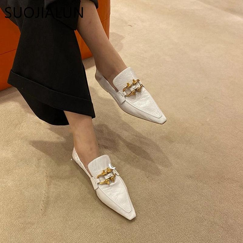 SUOJIALUN 2021 Spring Women Flats Brand Design Metal Buckle Shoes Pointed Toe Slip On Flats Ballet Shoes Low Heel Casual Loafers C0128