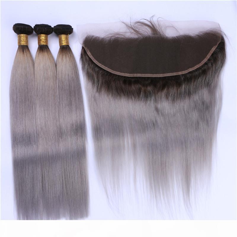 Silver Grey Ombre orelha à orelha 13x4 Lace frontais Encerramento com texturas 3 Pacotes 1B Grey Ombre brasileira com cabelo frontal reta de seda