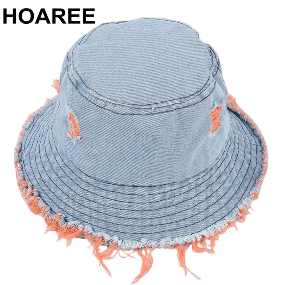 HOAREE Wide Brim Cotton Sun Protection Caps for Ladies Hole Denim Blue Bucket Hat Womens Summer Casual Fisherman Hat C0123