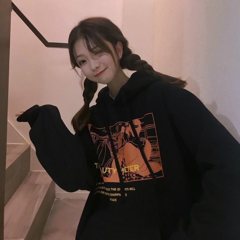 Kapüşonlular Kadınlar Kış Artı Kadife Daha kalın Sıcak Baskılı Gevşek Kadın Hoodie All-maç Basit Kore Stil Öğrenci Moda Günlük