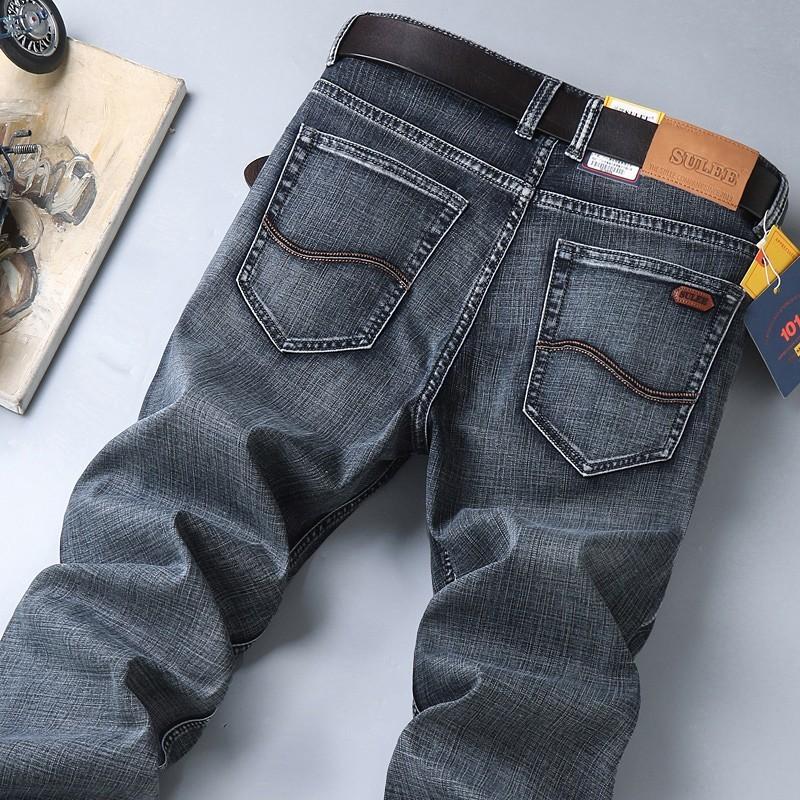 Sulee Top-Marken-Mann-Schnurrbart-Effekt Taille Denim Medium Calca Jeans Masculina