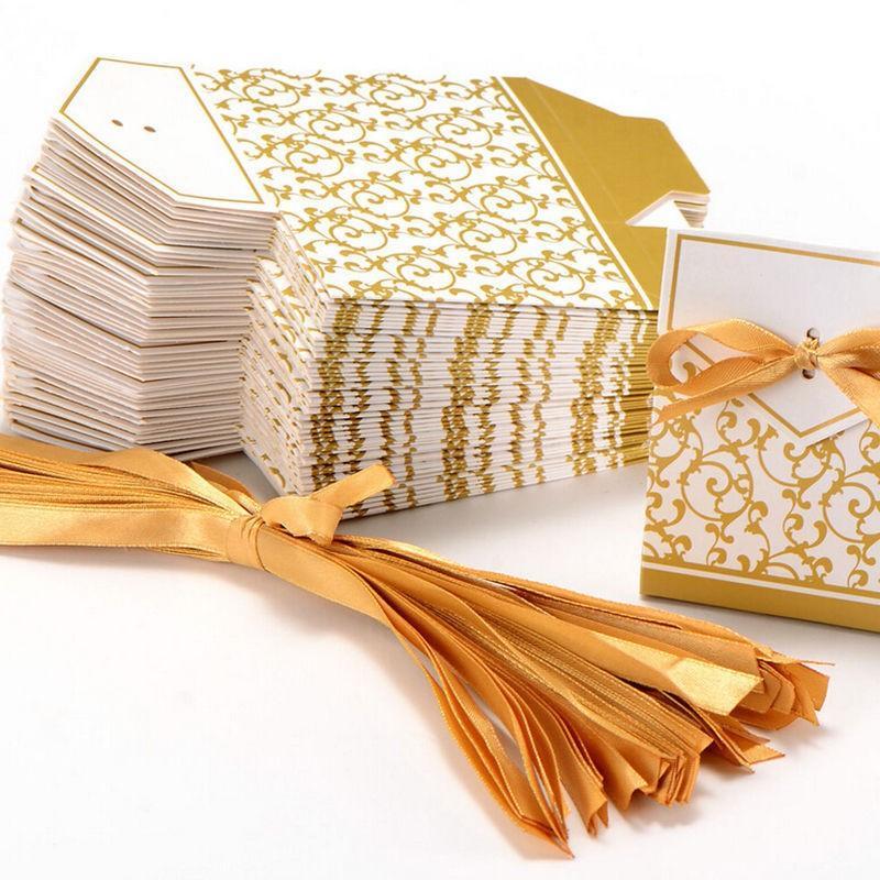 새로운 10pcs 크리 에이 티브 황금 실버 리본 결혼식 호의 파티 선물 캔디 종이 상자 쿠키 사탕 선물 가방 이벤트 파티 소모품 CCE3966