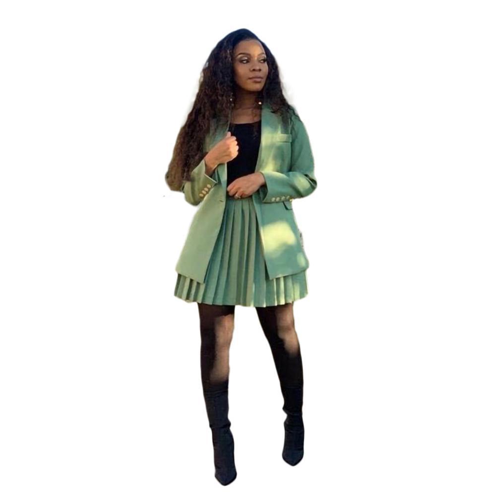 Fanco 2020 Mode Femmes Blazer et Jupe plissée Ensemble Longue manches Bureau Lady Couleur Solid Couleur Solid Two Piece Entreprise Plus Taille 3XL