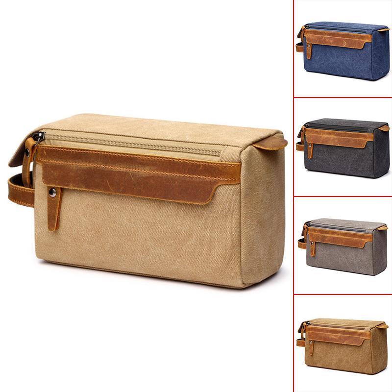 Bolsa de cosmética para hombres de viaje Bolsa de aseo de lona Maquillaje de cuero afeitado Bolsa de almacenamiento con mango lateral Agarre