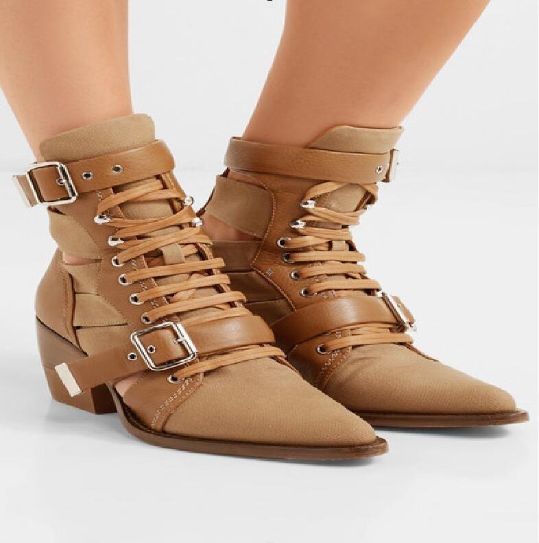 Arranque del talón de la manera caliente Blanco / Negro / amarillo / Otros Colores del cuero partido media pantorrilla del zapato con cordones de zapatos en punta del dedo del pie cuadrado Mujer de la Mujer