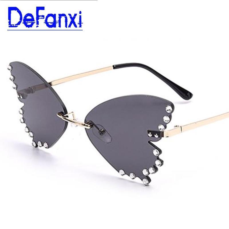 Borboleta sem aro de diamante óculos de sol instagram Luxury Designer Trendy única Shades Tinted Lens olho de gato óculos de sol para as mulheres UV