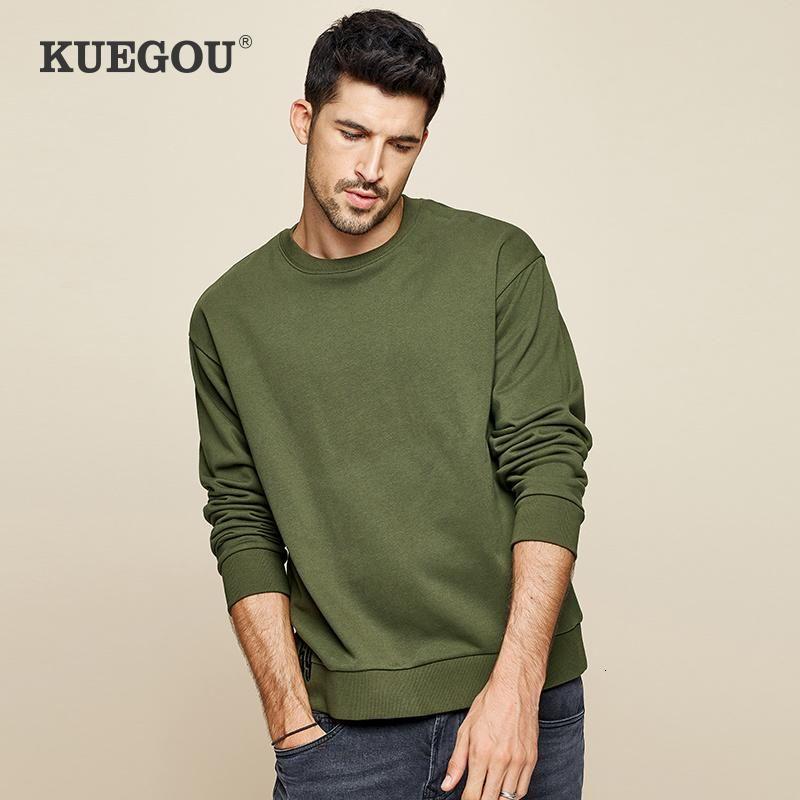 KUEGOU algodón 2020 otoño impresiones Ejército de la camiseta de los hombres verdes de moda japonesa Streetwear Hip Hop: Hombre Ropa de marca Top 1291