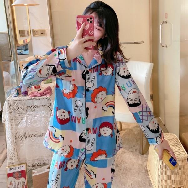 MEUM BZEL Pareja pijama ropa de los sistemas del pijama de rayas Pijamas impresa flor ropa de noche para él y para su traje de raso Inicio Para los amantes mujer Lover Man