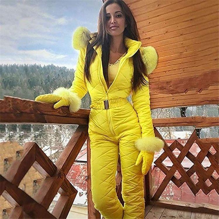60CUt Frauen ein Stück Fell Kapuze Frauen Anzug Overall Winter warme Outdoor suitWarm Außen Skisport Auxo Sportbekleidung snowsuit AUxoK Sport