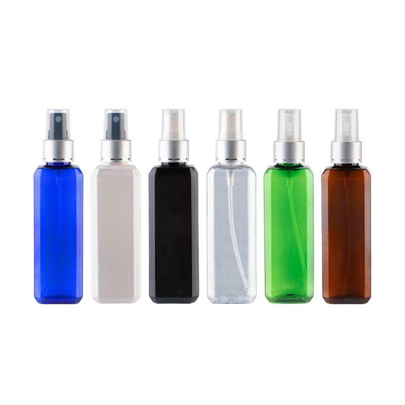100ml X 50 bottiglie quadrato nero Belle spruzzatore della pompa vuoti 100cc Nero PET Cosmetici alluminio Mists pompa spray