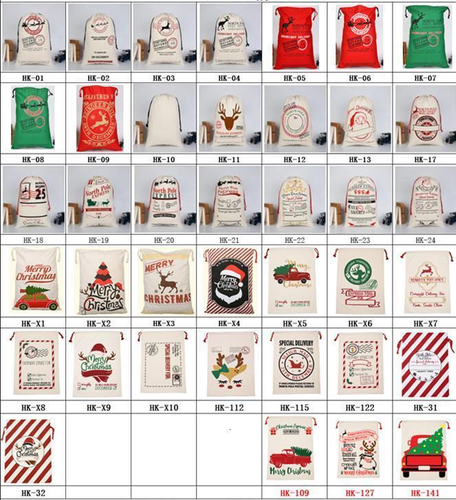 Estoque Saco de Presente de Natal com Rena Santa US Claus Sack Algodão Proteção Ambiental Pacote Boca Bolsa De Lona Moose Bolsa De Natal