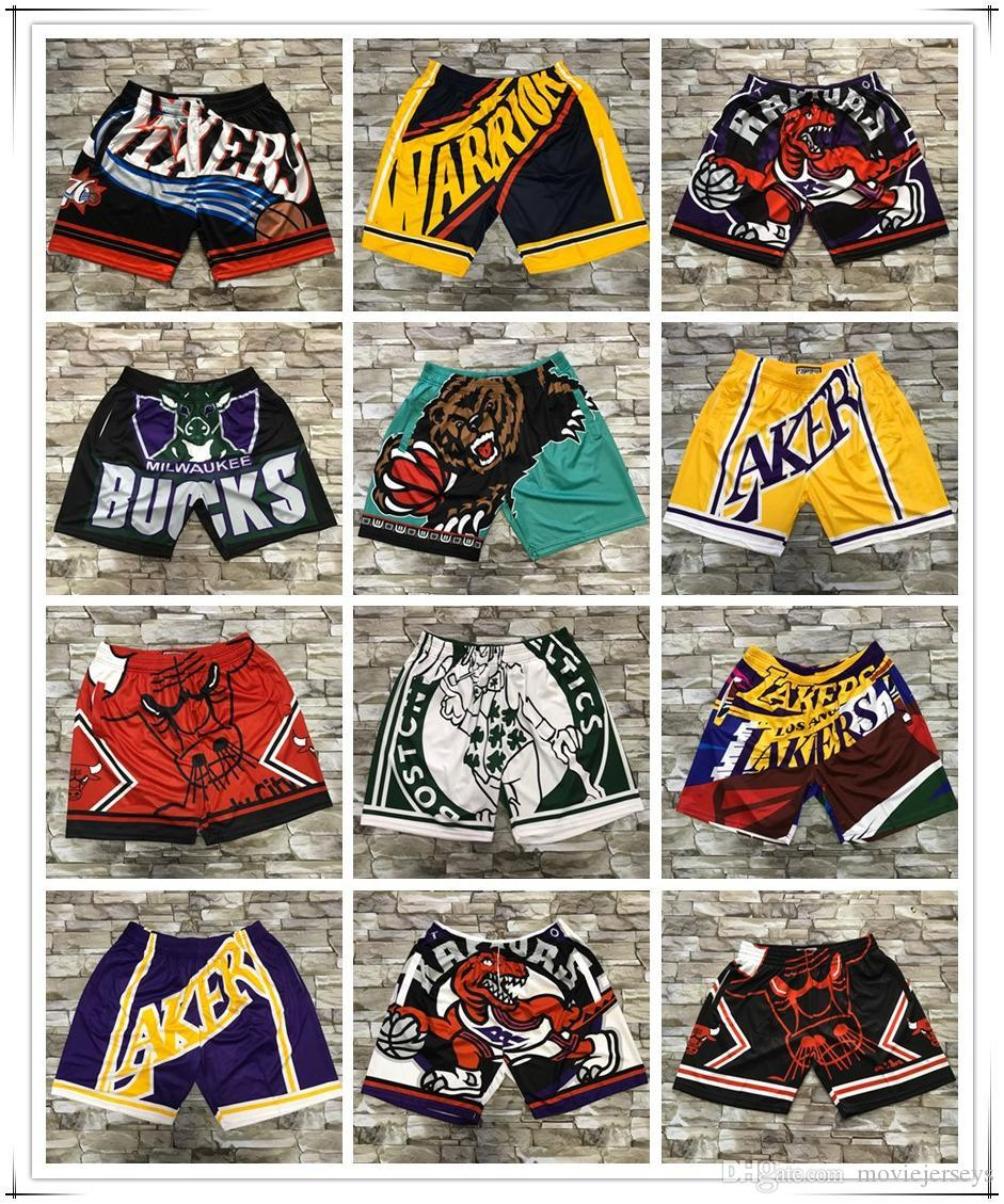 Space Jam Basketball Shorts Mens NCAA 76 / ER Novas respirável Sweatpants Teams clássico Imprimir Sportswear 23 Lc College Basketball Curto