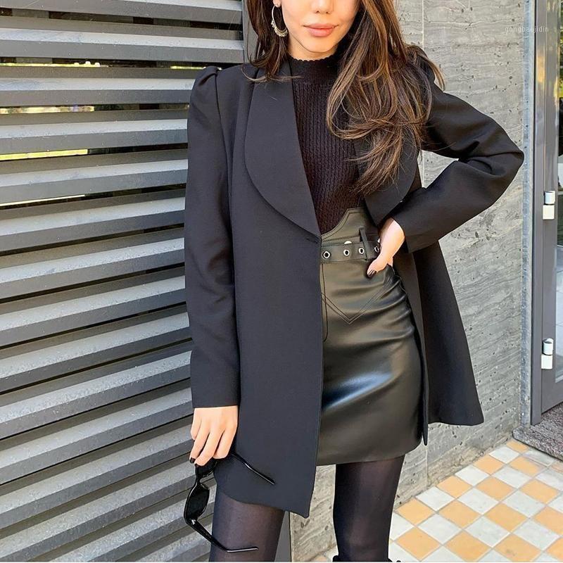 blazer mulheres outono inverno novo estilo venda quente cor sólida botão moda de mangas compridas meados cintura preto top jacket roupas1