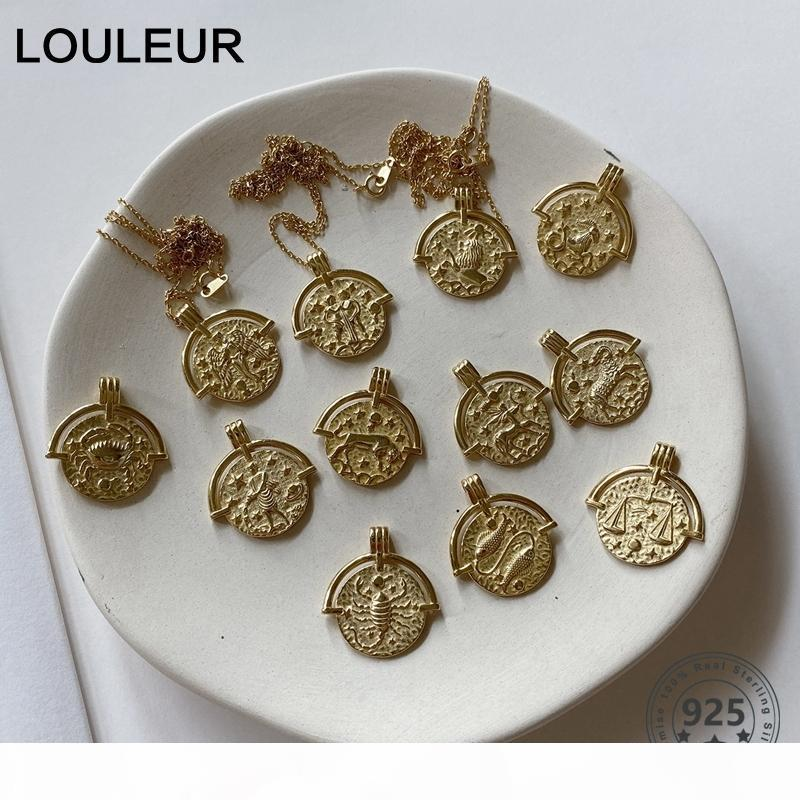 LOULEUR 925 Sterling Silber zwölf Sternbild Halskette Anhänger Gold Emboss Zodiac Halskette für Frauen Silber 925 Schmuck Gold 1020