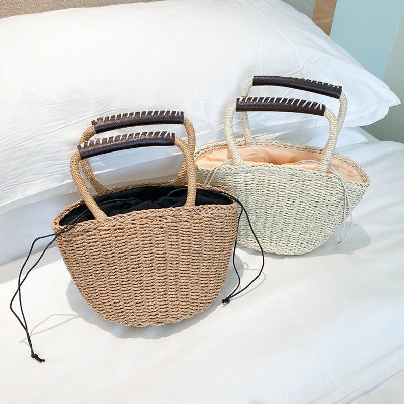 HBP Women Handbags Straw Weave Handbags Basket Crocher Single Shouler Bag Ladies Tote Bag Drawstring Bags