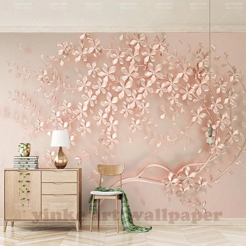 Özelleştirilmiş Büyük Duvar Elegance Stereoskopik Çiçek Rose Gold 3D Duvar Kağıdı İçin Salon Televizyon Backdrop Duvar Kağıdı Yüksek Tanımlı H jeCv # 3d