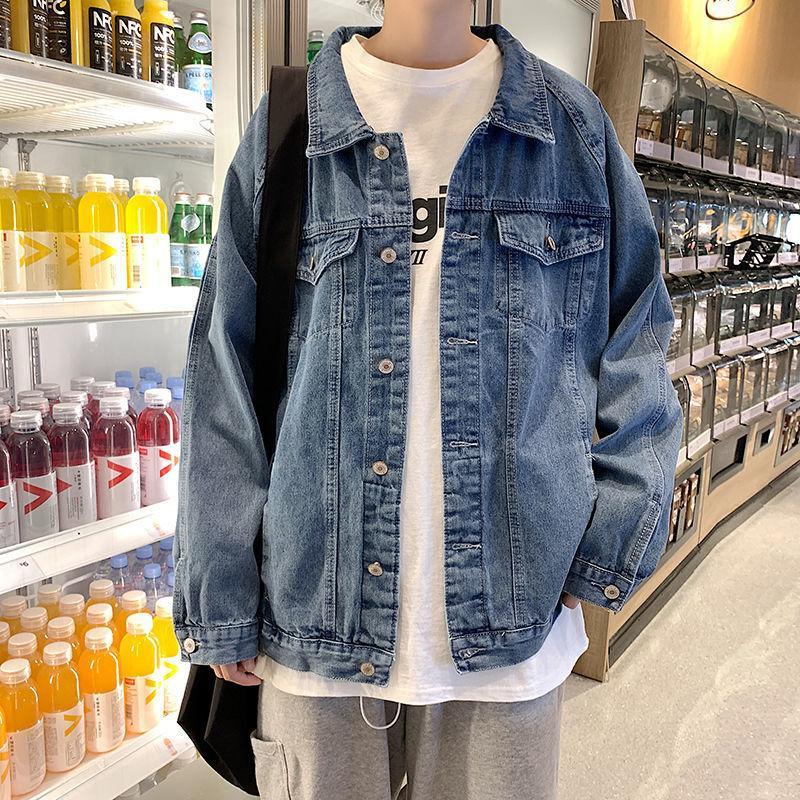 Herbst Blaue Herrenmode Lässig Retro Denim Jacken Mens Streetwear Wild Lose Hip-Hop Bomber Jacke Männer S-2XL