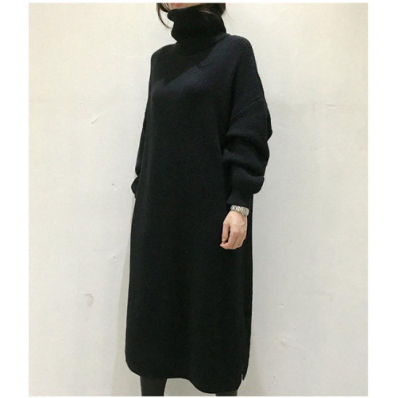 Mulheres outono inverno engrossar turtleneck longo camisola vestido senhoras enorme manga longa split tricotada vestidos de pulôver casual 201110