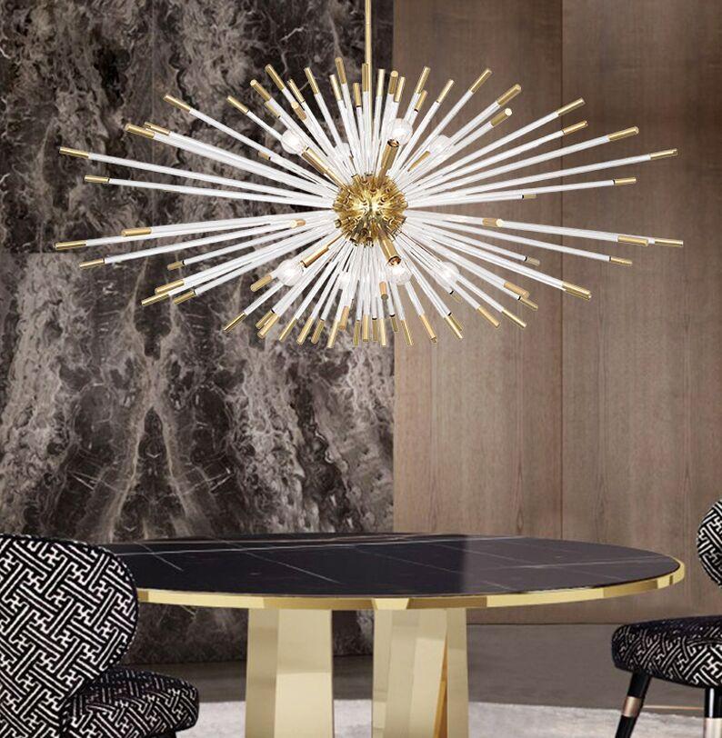 Yeni Modern Kristal Avize Oturma Odası için Deigner Cam Işık Fikstürü Yemek Yatak Odası Altın Ev Dekorasyon Cristal Lamba